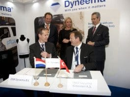 The Letter of Intent was signed by Dirk Louwers, marketing manager Life Protection, EMEA, DSM Dyneema, Bastiaan de Koning, director sales, EMEA, DSM Dyneema, Nail Kurt, general manager and CEO, FNSS, and Reed McPeak, assistant general manager, FNSS. It was signed in the presence of The Netherlands Minister of Defence, Jeanine Hennis-Plasschaert, at the DSM Dyneema booth #284A in Hall 2.