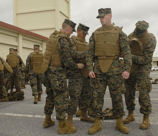 Marines wearing body armor