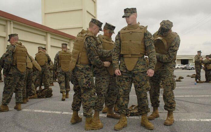 Marines wearing body armor